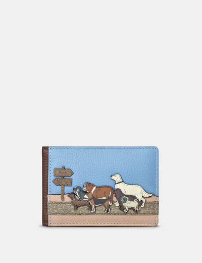 Dog Walk Brown Leather Travel Pass Holder - Yoshi