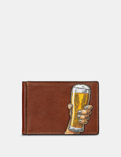 Cheers Brown Leather Travel Pass Holder - Yoshi