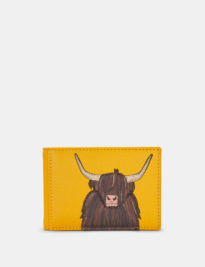 Highland Cow Yellow Leather Travel Pass Holder - Yoshi