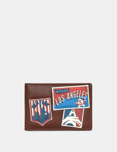 Happy Travels Brown Leather Travel Pass Holder - Yoshi