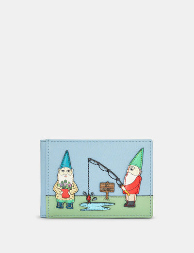 Gnome Sweet Gnome Blue Leather Travel Pass Holder - Yoshi
