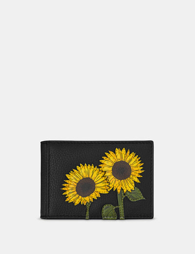 Sunflowers Black Leather Travel Pass Holder - Yoshi