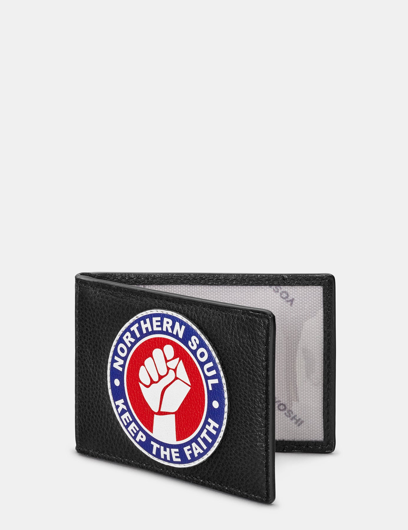 Northern Soul Keep The Faith Red Bifold Wallet Coin Purse Zipped Wide Card Slot