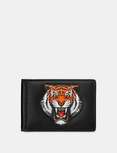 Tiger Black Leather Travel Pass Holder - Yoshi