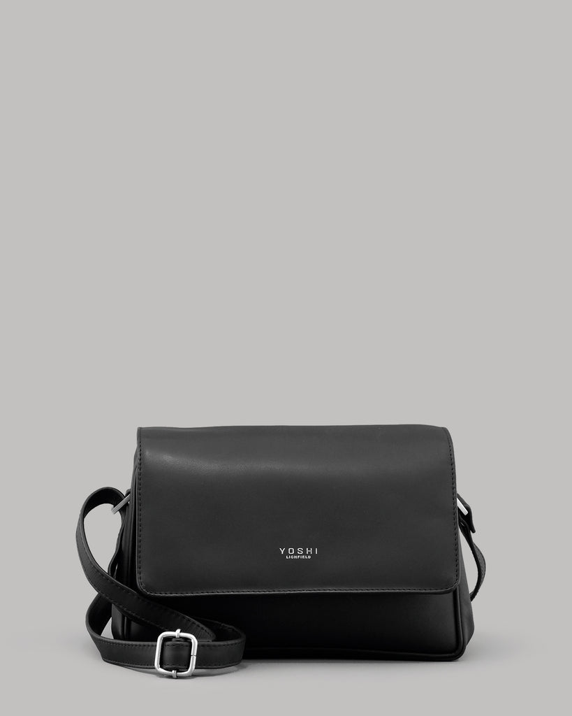 Richmond Flap Over Black Leather Shoulder Bag
