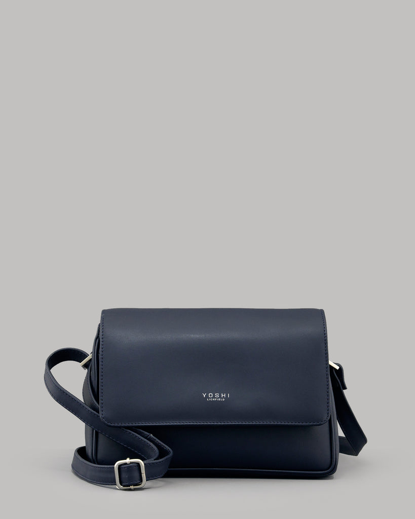 Richmond Flap Over Navy Leather Shoulder Bag