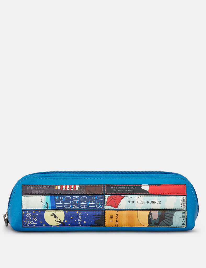 Bookworm Cobalt Blue Leather Pencil Case - Yoshi