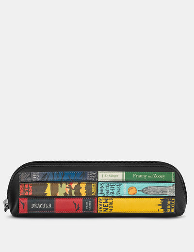 Bookworm Black Leather Pencil Case - Yoshi