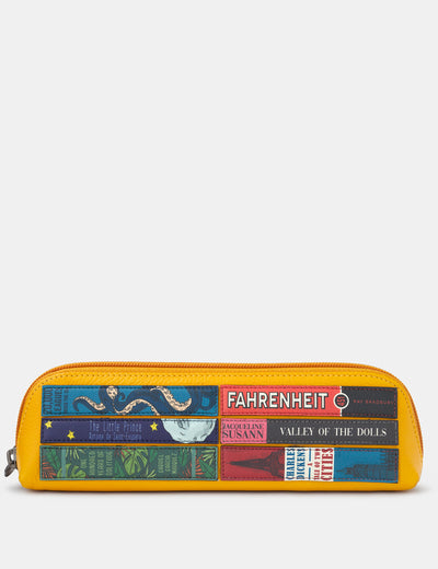 Bookworm Yellow Leather Pencil Case - Yoshi