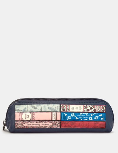 Jane Austen Bookworm Navy Leather Pencil Case - Yoshi