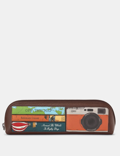 Travel Bookworm Brown Leather Pencil Case - Yoshi