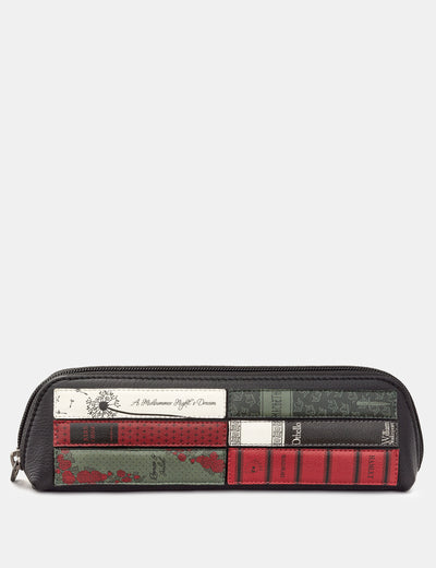 Shakespeare Bookworm Black Leather Pencil Case - Yoshi