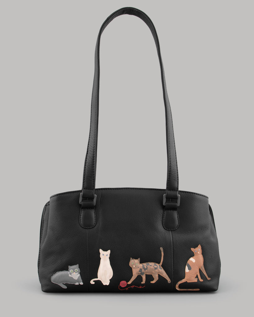 Cats Whiskers Black Leather Shoulder Bag