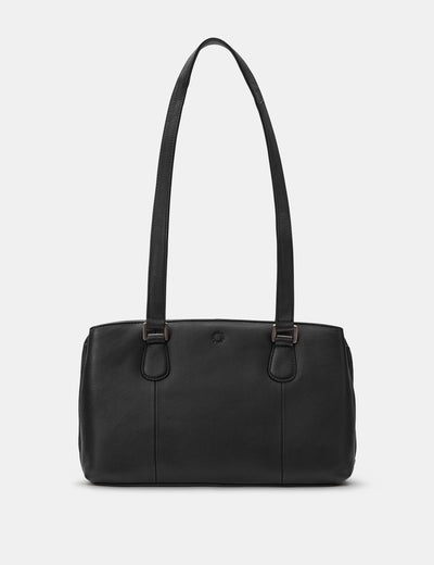Ealing Black Leather Shoulder Bag - Yoshi