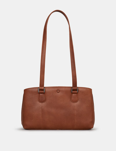 Ealing Brown Leather Shoulder Bag - Yoshi