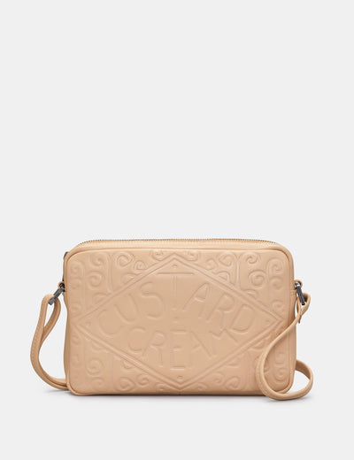Custard Cream Leather Cross Body Bag - Yoshi