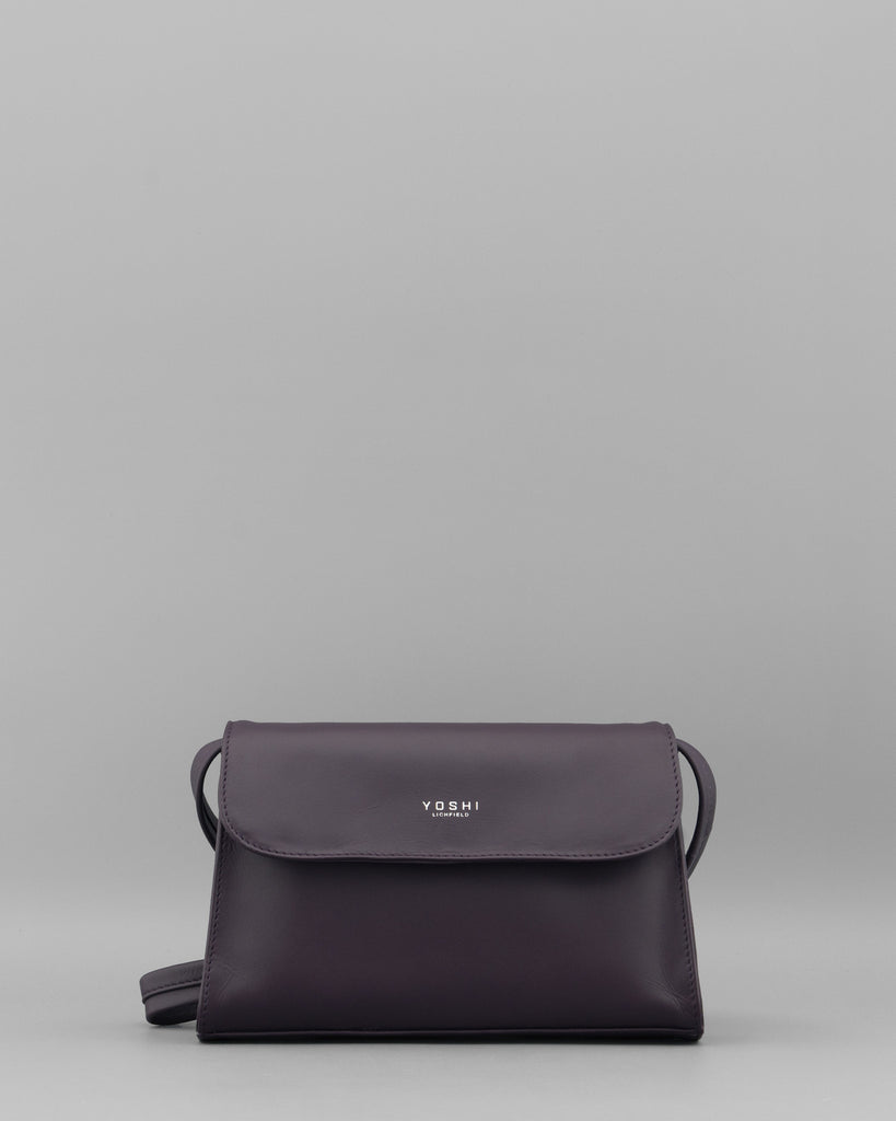 Celie Purple Leather Shoulder / Clutch Bag a
