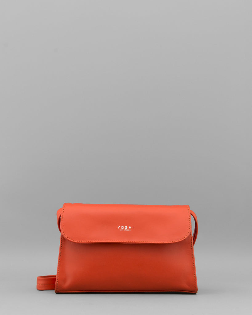 Celie Tangerine Leather Shoulder / Clutch Bag a