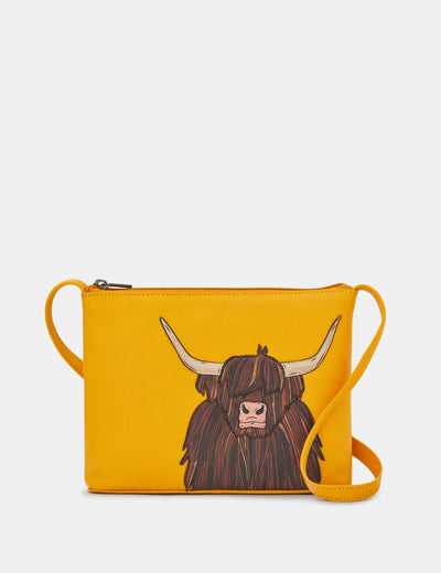 Highland Cow Yellow Leather Cross Body Bag - Yoshi