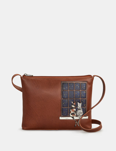 Midnight Cats Brown Leather Cross Body Bag - Yoshi