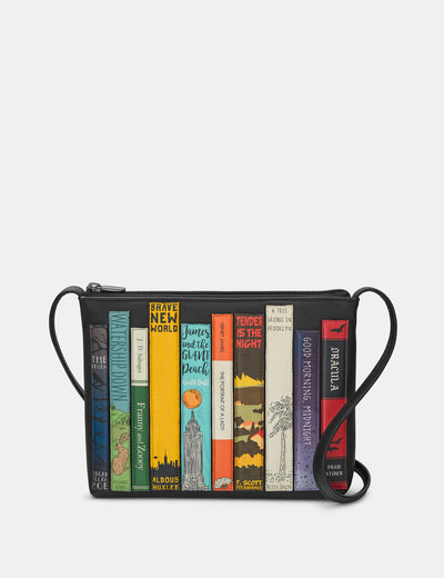 Bookworm Black Leather Cross Body Bag - Yoshi
