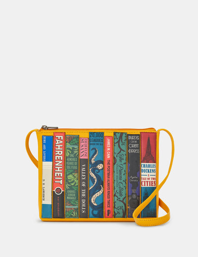 Bookworm Yellow Leather Cross Body Bag - Yoshi