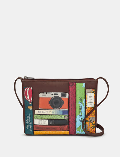 Travel Bookworm Brown Leather Cross Body Bag - Yoshi