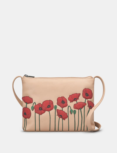Poppy Flower Frappe Leather Cross Body Bag - Yoshi