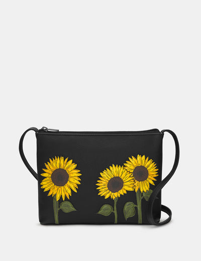 Sunflowers Black Leather Cross Body Bag - Yoshi