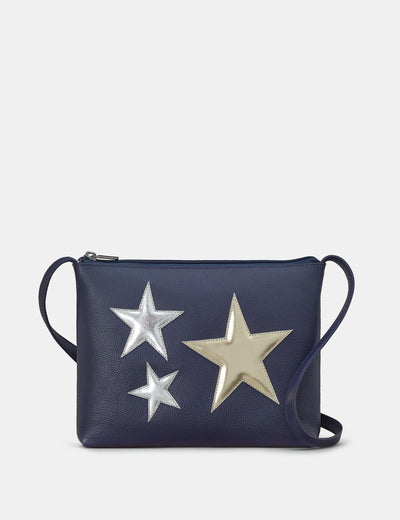 Stars Navy Leather Cross Body Bag - Yoshi
