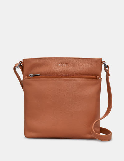 Garrick Tan Leather Cross Body Bag - Yoshi