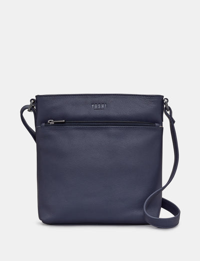 Garrick Navy Leather Cross Body Bag - Yoshi