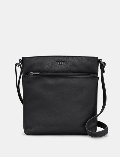Garrick Black Leather Cross Body Bag - Yoshi