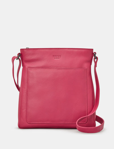 Bryant Raspberry Leather Cross Body Bag - Yoshi