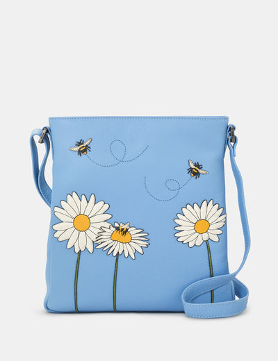 Bee Happy Blue Leather Bryant Cross Body Bag - Yoshi