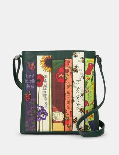 Green Fingers Bookworm Green Leather Bryant Cross Body Bag - Yoshi