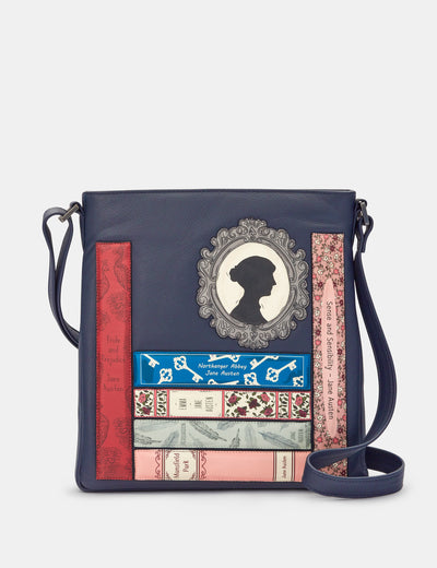 Jane Austen Bookworm Navy Leather Bryant Cross Body Bag - Yoshi