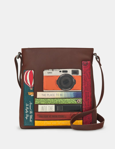 Travel Bookworm Brown Leather Bryant Cross Body Bag - Yoshi