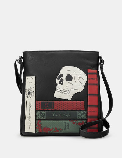 Shakespeare Bookworm Black Leather Bryant Cross Body Bag - Yoshi