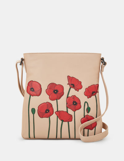 Poppy Flower Frappe Leather Bryant Cross Body Bag - Yoshi