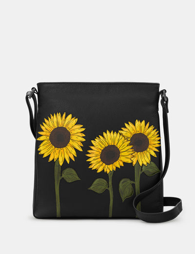 Sunflowers Black Leather Bryant Cross Body Bag - Yoshi