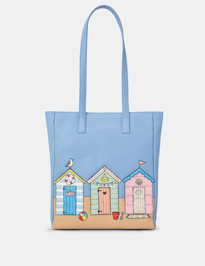 Happy Daze Blue Leather Shopper Bag - Yoshi