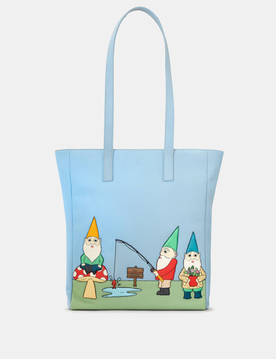 Gnome Sweet Gnome Blue Leather Shopper Bag - Yoshi