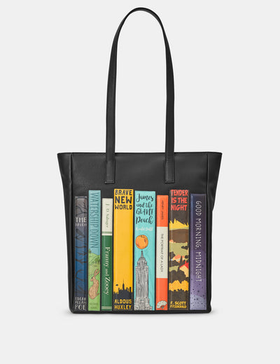 Bookworm Black Leather Shopper Bag - Yoshi