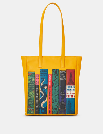 Bookworm Yellow Leather Shopper Bag - Yoshi