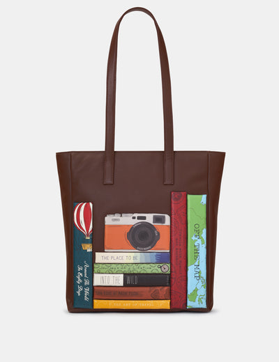 Travel Bookworm Brown Leather Shopper Bag - Yoshi