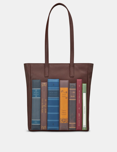 Bookworm Brown Leather Shopper Bag - Yoshi