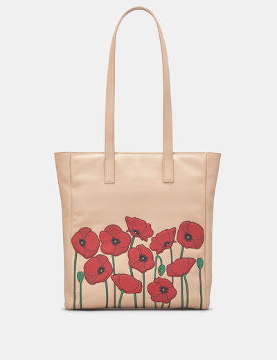 Poppy Flower Frappe Leather Shopper Bag - Yoshi