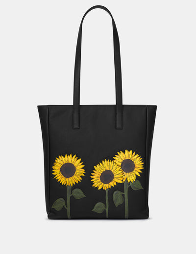 Sunflowers Black Leather Shopper Bag - Yoshi