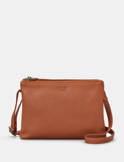 Miller Tan Leather Double Zip Top Cross Body Bag - Yoshi